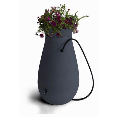 Cascata 65 gallon Decorative Rain Barrel with Integrated Planter - Slate Grey