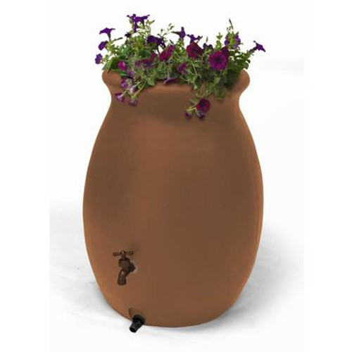Castilla 50 Gallon Decorative Rain Barrel with Integrated Planter - Terra Cotta