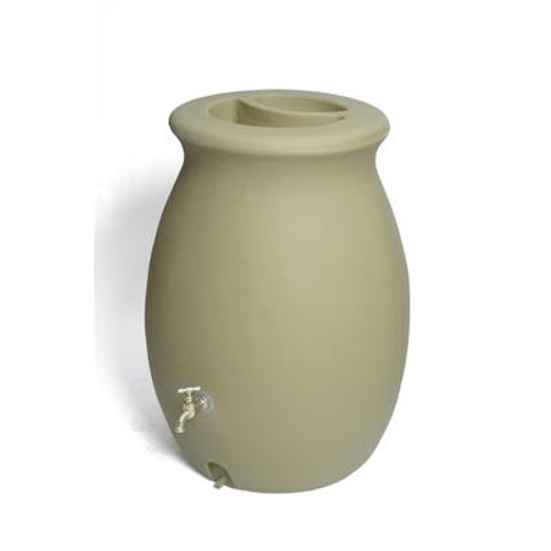 Castilla 50 Gallon Decorative Rain Barrel with Integrated Planter - Sandalwood