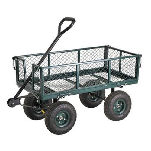 34 in. L x 18 in. W Green Heavy Duty Steel Crate Wagon