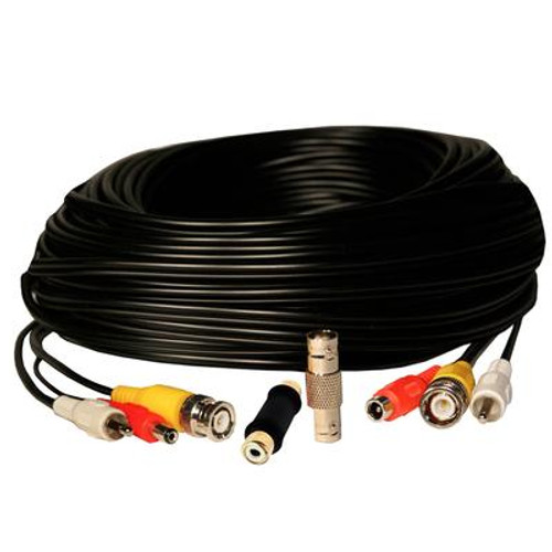 50 Feet RCA Audio / BNC Video / 2.1mm DC Power Extension Cable - Black
