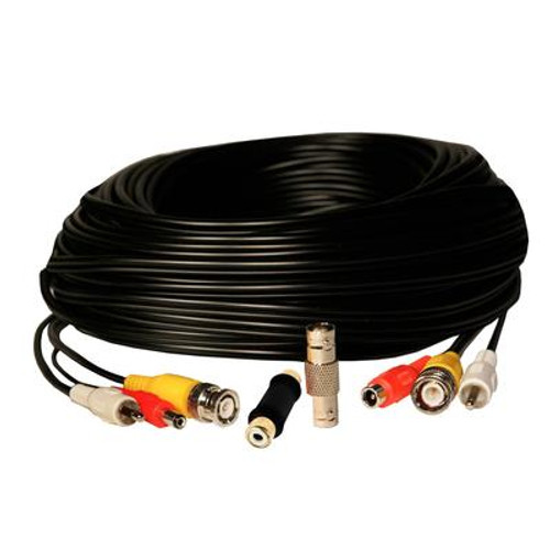 100 Feet RCA Audio / BNC Video / 2.1mm DC Power Extension Cable - Black
