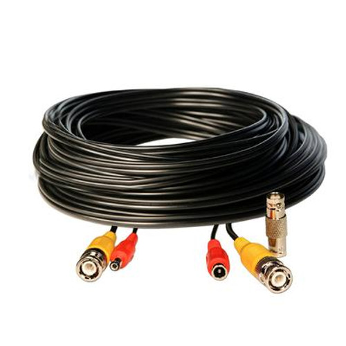 50 Foot BNC Video/ 2.1mm DC Power Extension Cable - Black