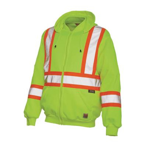 Hi-Vis Zip Front Hoodie With Safety Stripes Yellow/Green Large