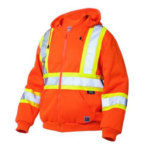 Hi-Vis Zip Front Hoodie With Safety Stripes Fluorescent Orange 3X Large
