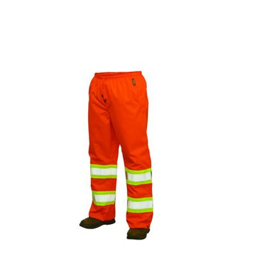 Hi-Vis Rain Pant With Safety Stripes Fluorescent Orange Medium