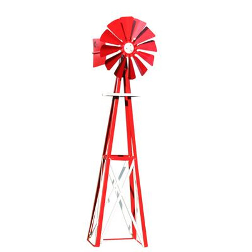 Red and White Powder Coated Backyard Windmill - Small