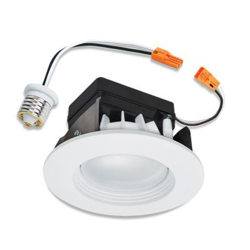 4 Inch LED Retrofit Kit-Matte White Baffle and Trim Ring