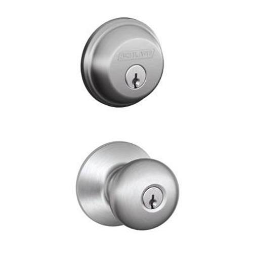 Satin Chrome Deadbolt / Plymouth Door Knob Combination Pack