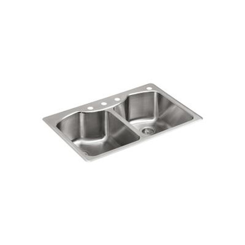 Octave Top-Mount Double Bowl Kitchen Sink in Stainless Steel