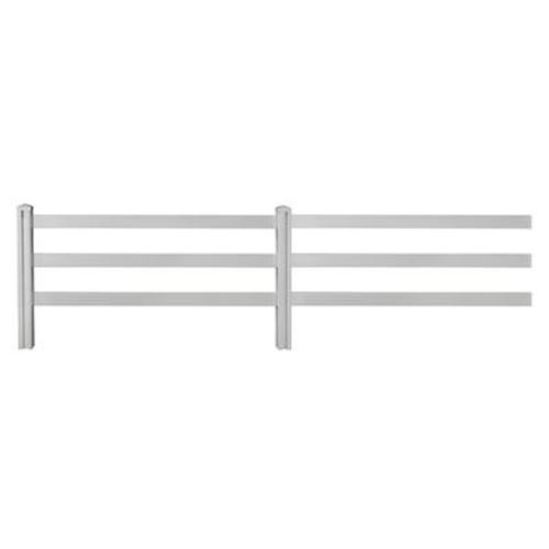 4ft H x 7ft W Premium Vinyl Ranch Rail Fence Panels (2) w/ Posts (2) & Caps (2)
