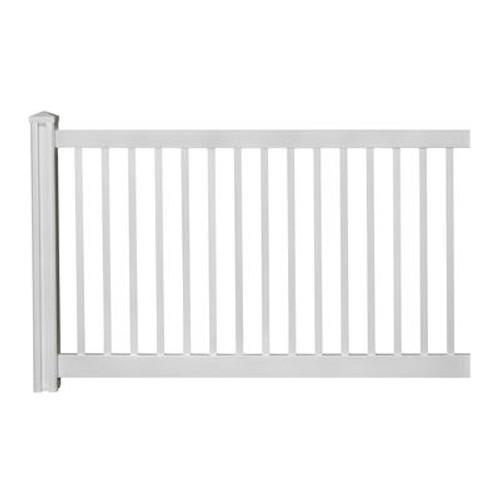 4ft H x 7ft W Premium Vinyl Yard Fence Panel w/ Post & Cap