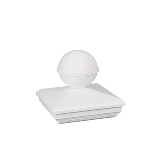 4X4 New England Ball White Pvc Post Cap