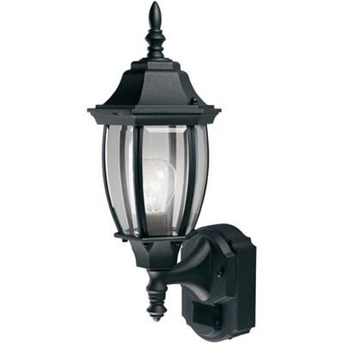 Heath Zenith 180 Degree Alexandria Lantern with Curved Beveled Glass - Black