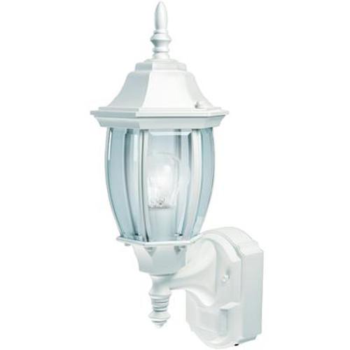 Heath Zenith 180 Degree Alexandria Lantern with Curved Beveled Glass - White