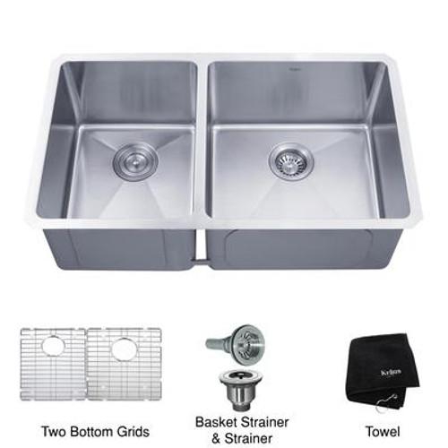 33 Inch Undermount 60/40 Double Bowl 16 gauge Stainless Steel Kitchen Sink