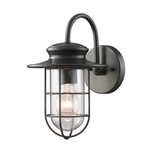 1-Light Outdoor Matte Black Wall Sconce