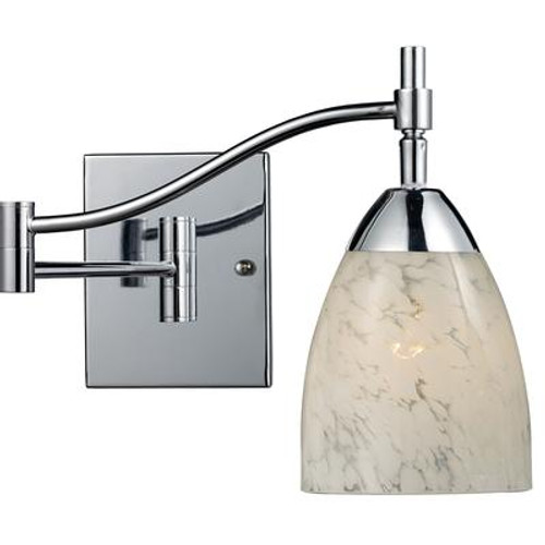 1-Light Wall Mount Polished Chrome Swingarm Sconce