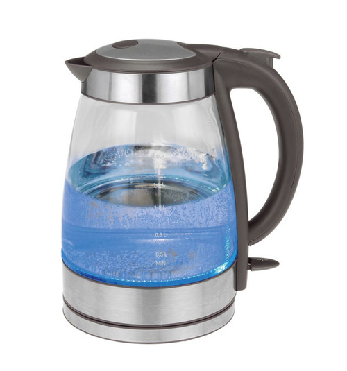 Grey and Stainless Steel Glass Water Kettle