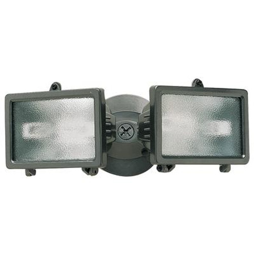 Compact Twin 150W Halogen Security Floodlight - Bronze