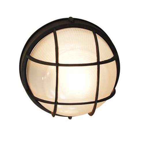 Round Porch Deck and Stairwell Light 10 inch in Black