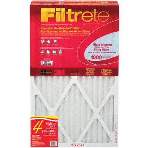 3M Filtrete 16x25 Micro Allergen Reduction Filter 4-Pack