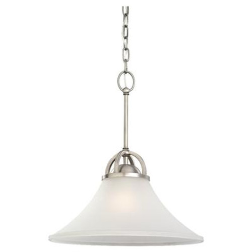 1 Light Antique Brushed Nickel Incandescent Pendant
