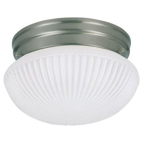 1 Light Brushed Nickel Fluorescent Ceiling Fixture