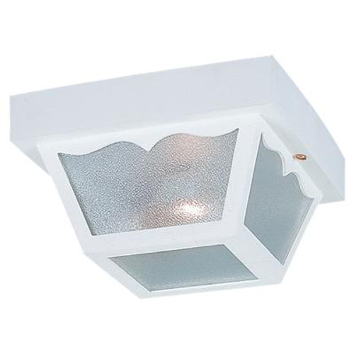 2 Light White Incandescent Outdoor Ceiling Fixture