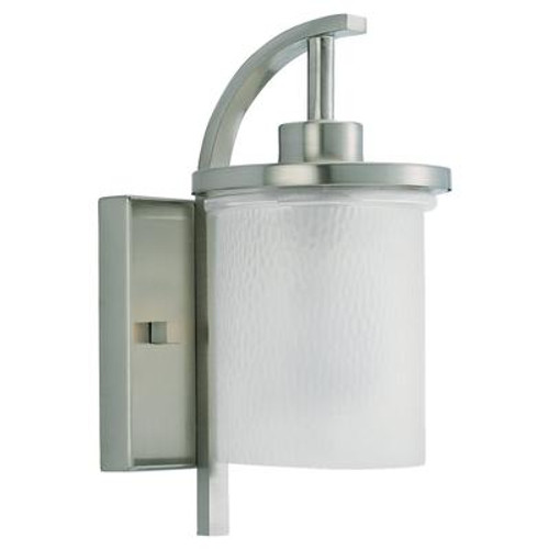 1 Light Brushed Nickel Incandescent Outdoor Wall Lantern