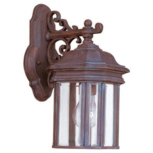 1 Light Textured Rust Patina Incandescent Outdoor Wall Lantern