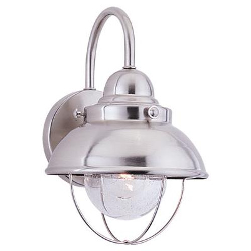 1 Light Brushed Stainless Incandescent Outdoor Wall Lantern