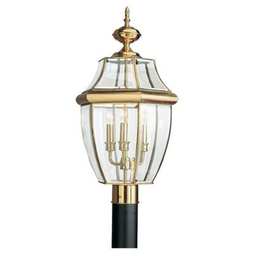 3 Light Polished Brass Incandescent Outdoor Post Lantern