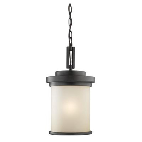1 Light Misted Bronze Incandescent Outdoor Pendant
