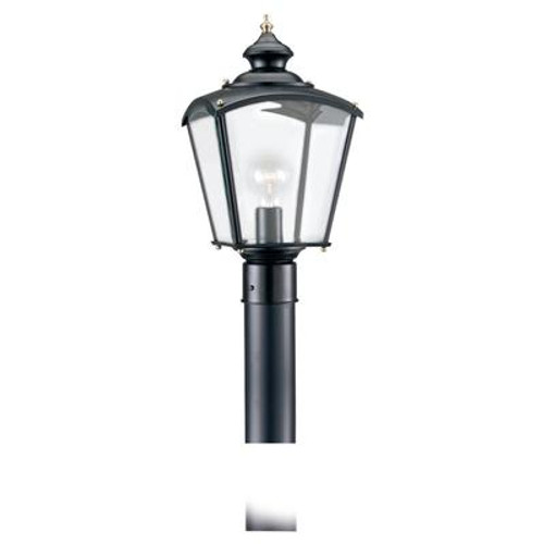 1 Light Black Incandescent Outdoor Post Lantern