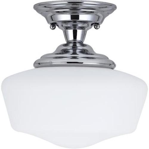 1 Light Chrome Incandescent Semi-Flush