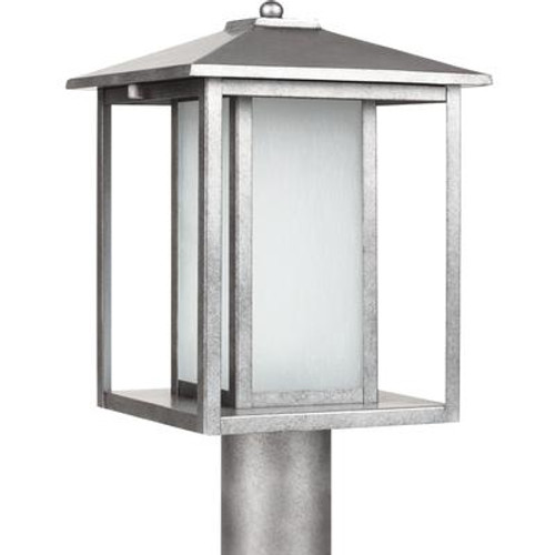 1 Light Weathered Pewter Fluorescent Outdoor Post Lantern