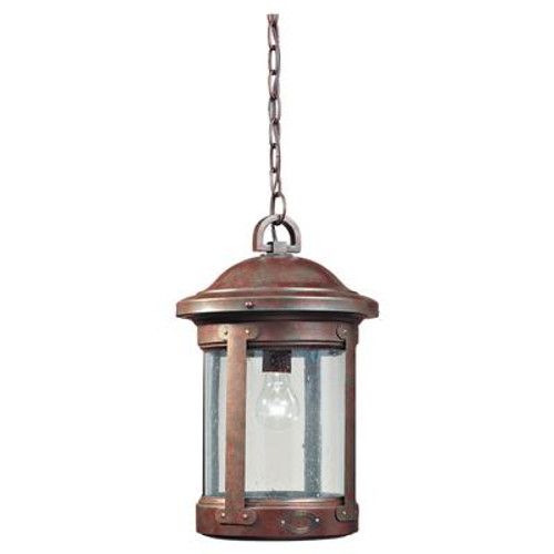 1 Light Weathered Copper Incandescent Outdoor Pendant