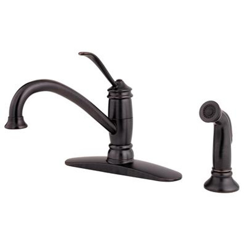 Brookwood 1-Handle 4-Hole Mid-Arc Kitchen Faucet with Side Spray in Tuscan Bronze