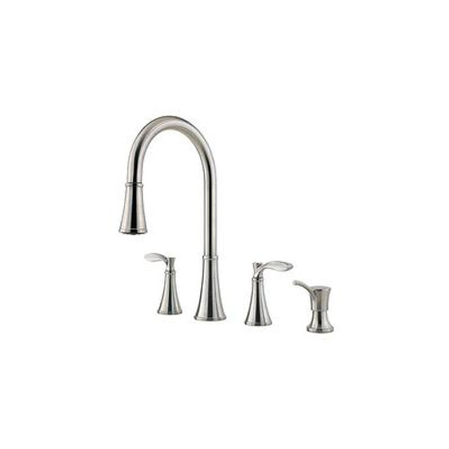 Peteluma 2-Handle 4-Hole Pull-Down Kitchen Faucet with Soap Dispenser in Stainless Steel