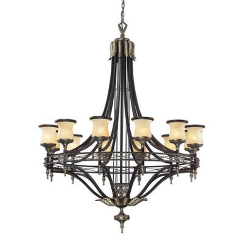 12- Light Ceiling Mount Antique Brass Chandelier
