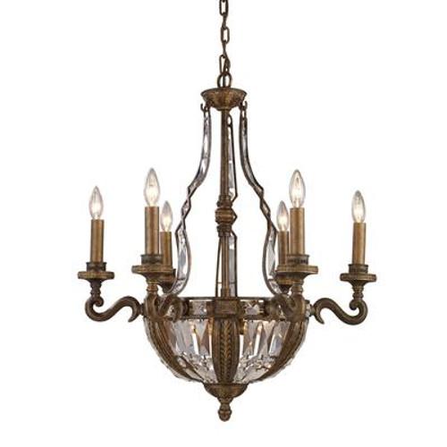 10- Light Ceiling Mount Antique Brass Chandelier