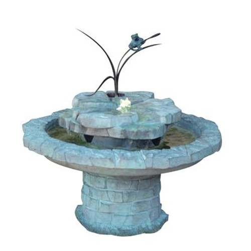 Cattail Frog Hybrid Fountain with Plume Light