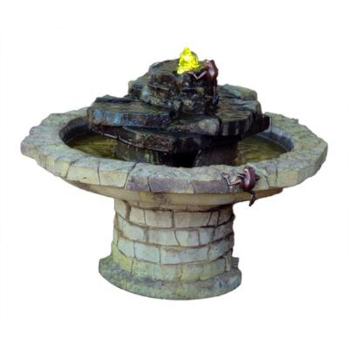 Climbing Frogs Hybrid Fountain with Plume Light