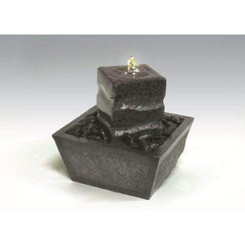 Algreen Products - Illuminated Relaxation Fountain With Granite Pillar And Natural Stones