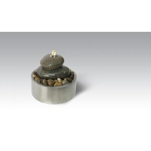 Algreen Products - Illuminated Relaxation Fountain With Authentic River Rocks And Stainless Steel Base