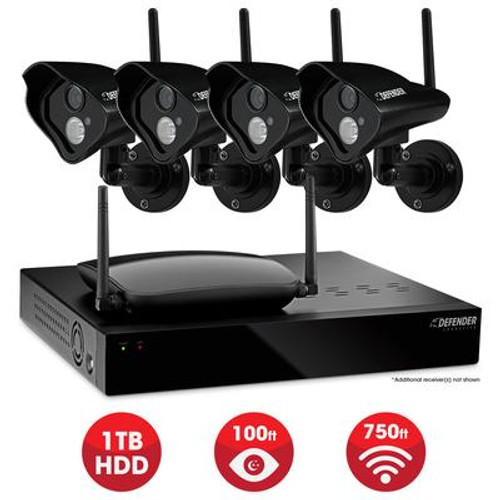 Defender Pro Connected - Home Security System - 4CH 1TB DVR 4x520TVL Digital Wireless Cameras