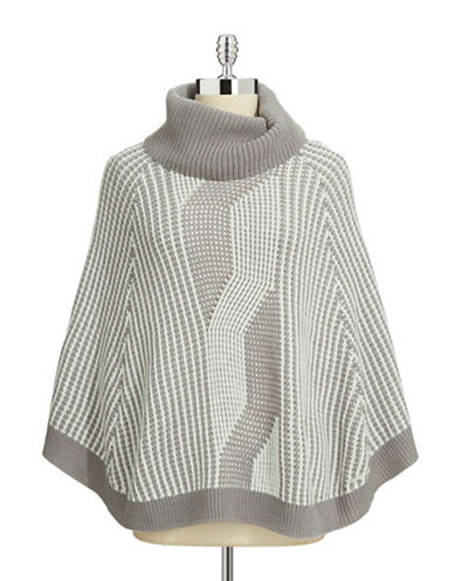 Calvin Klein Faux Cable Turtleneck Poncho - Grey
