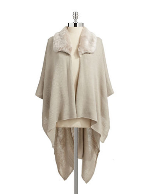 Echo Faux Fur Collar Ruana - Camel