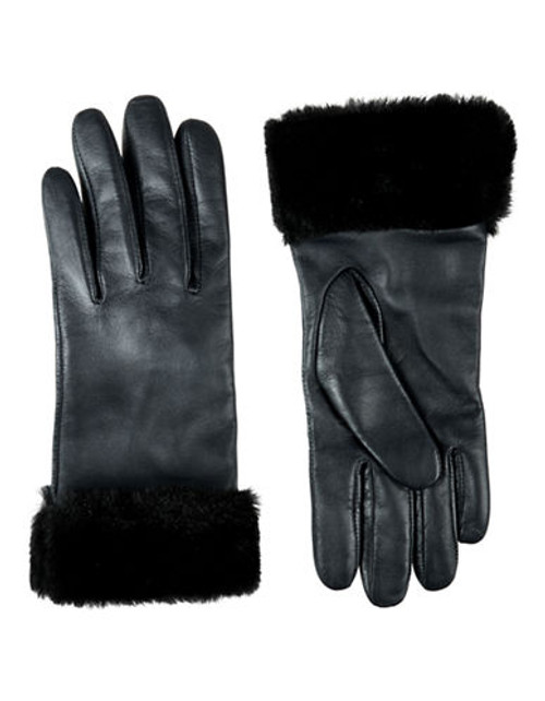 Jacques Vert Black Fur Trim Gloves - Black - S/M